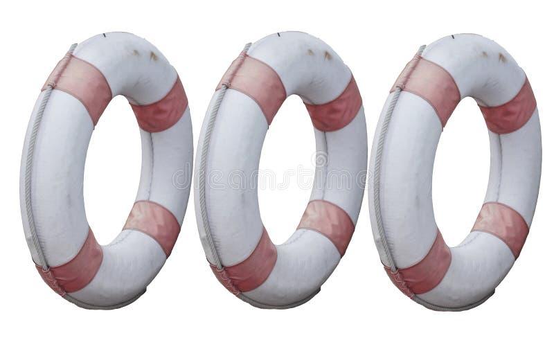 Trzy okrąg lifebuoy stary odosobniony na białych tło ?ycie ciu?acz zdjęcie royalty free