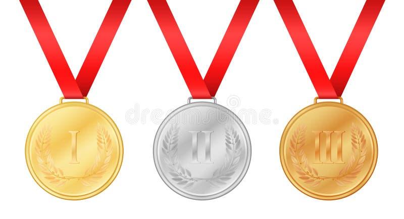 Trzy olimpiada medalu Złoty medal Srebrny medal royalty ilustracja