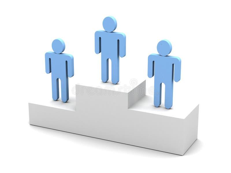 trzy osoby na podium logo ilustracji