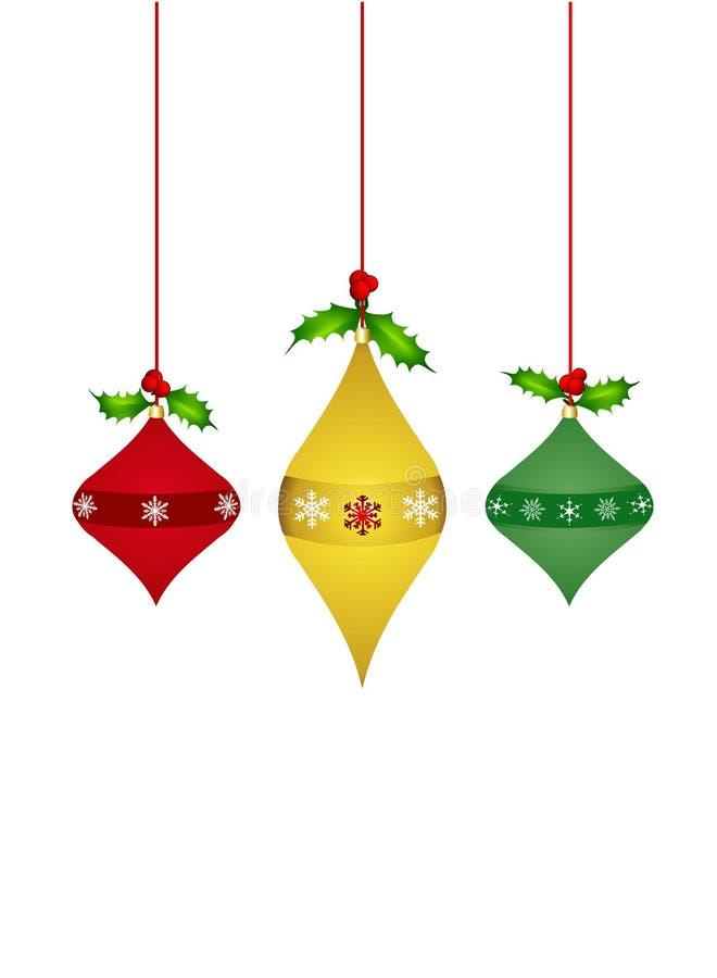 trzy ozdoby świąteczne zdjęcie royalty free