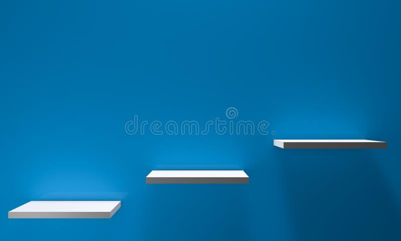 Trzy półki na ścianie zdjęcie royalty free