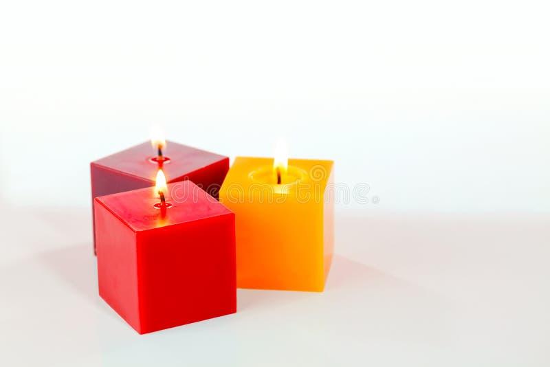 Trzy płonącej świeczki zdjęcie royalty free