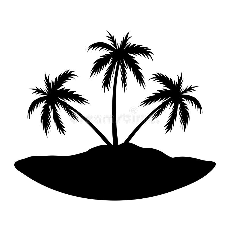Trzy palm wyspa ilustracja wektor