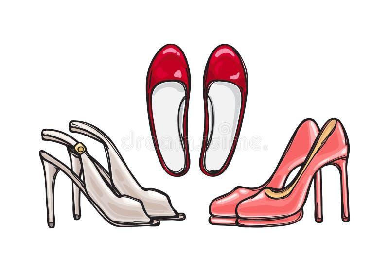 Trzy pary Piętowi buty modny obuwie royalty ilustracja