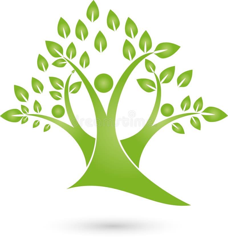 Trzy Persons jako drzewo, natura i ogrodniczka logo, Barwiący, royalty ilustracja