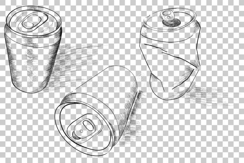 Trzy perspektywa Doodle Miękki napój Może, z smuga cieniem, przy Przejrzystym skutka tłem ilustracja wektor