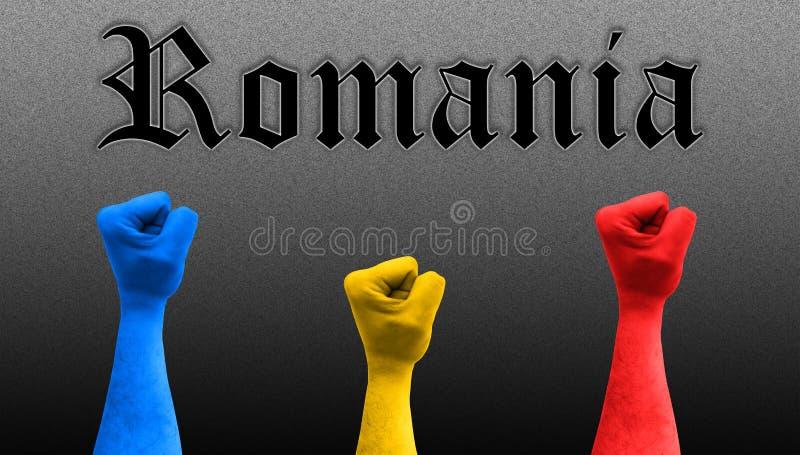 Trzy pięści w powietrzu z romanian flagą barwią obraz stock