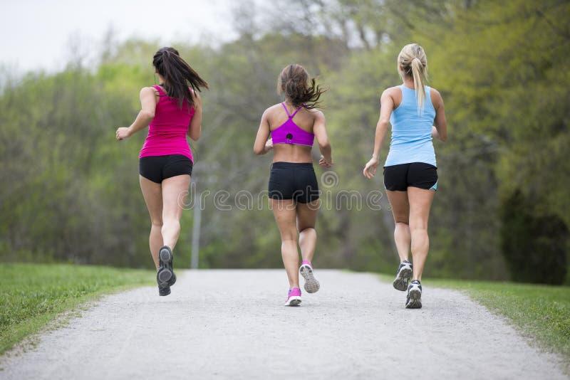 Trzy pięknego kobieta bieg w parku zdjęcia royalty free