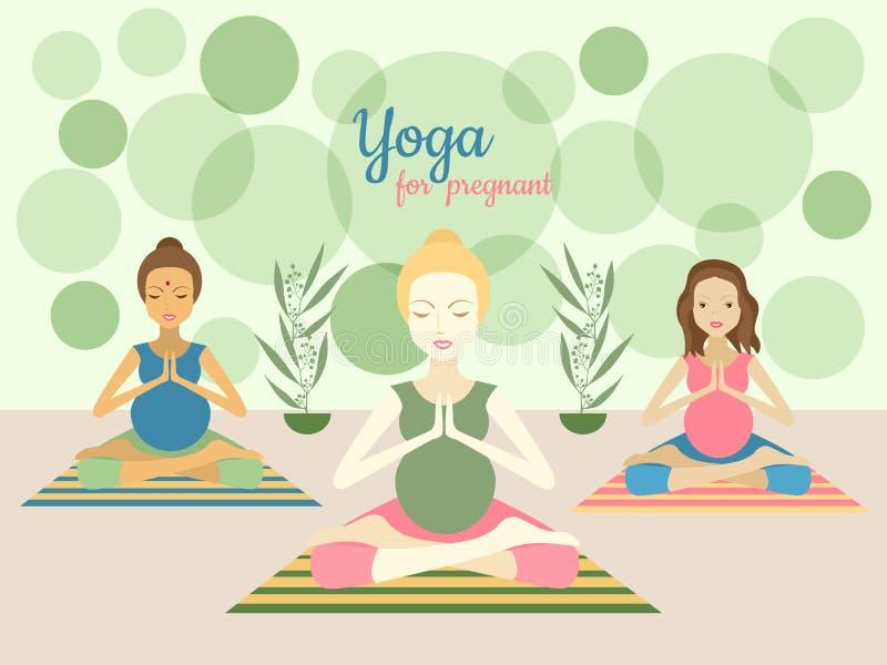 Trzy pięknego kobieta w ciąży ćwiczy joga ćwiczą w gym ilustracji