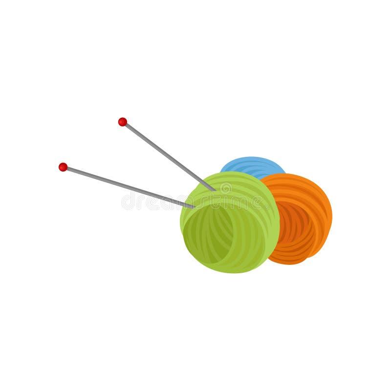 Trzy piłka wełny przędza i dwa metal igły Woolen nici dla dziać Narzędzia dla rękodzieła Płaski wektorowy projekt ilustracja wektor