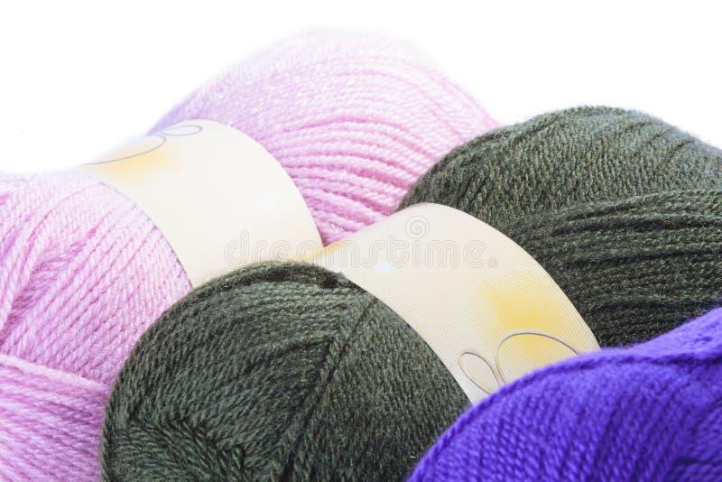Trzy piłki coloured wełna zdjęcia stock