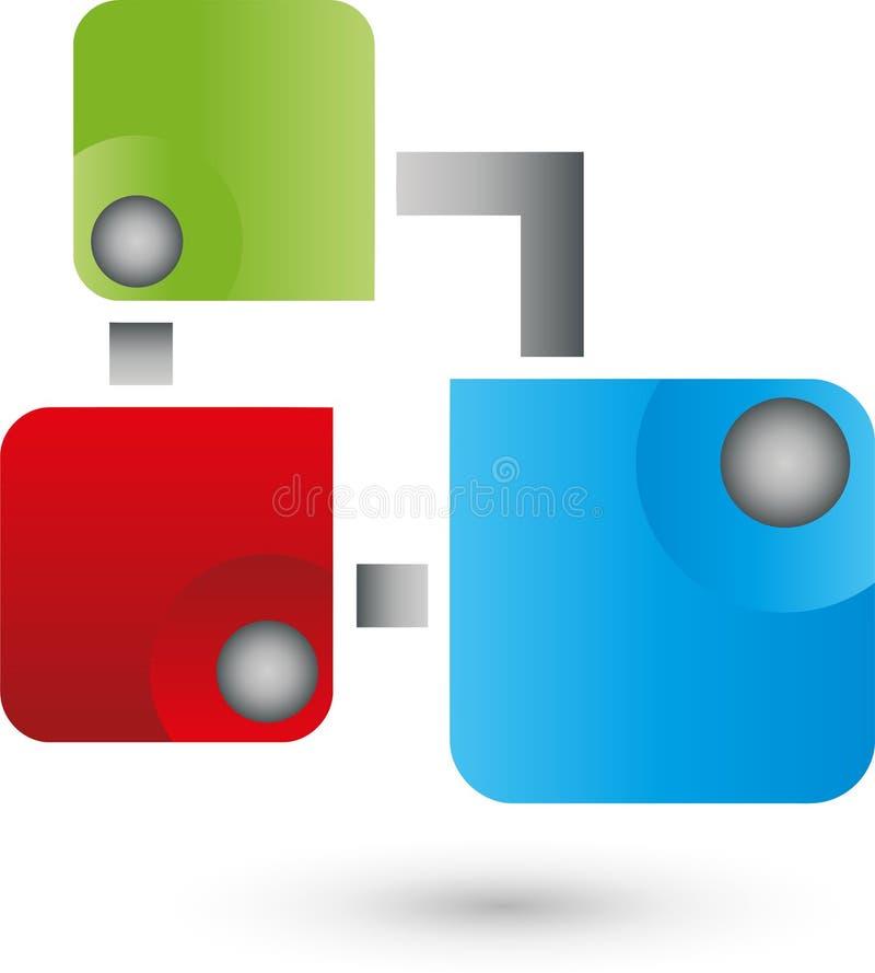 Trzy piłki, kwadraty, internet i IT usługa logo i, royalty ilustracja