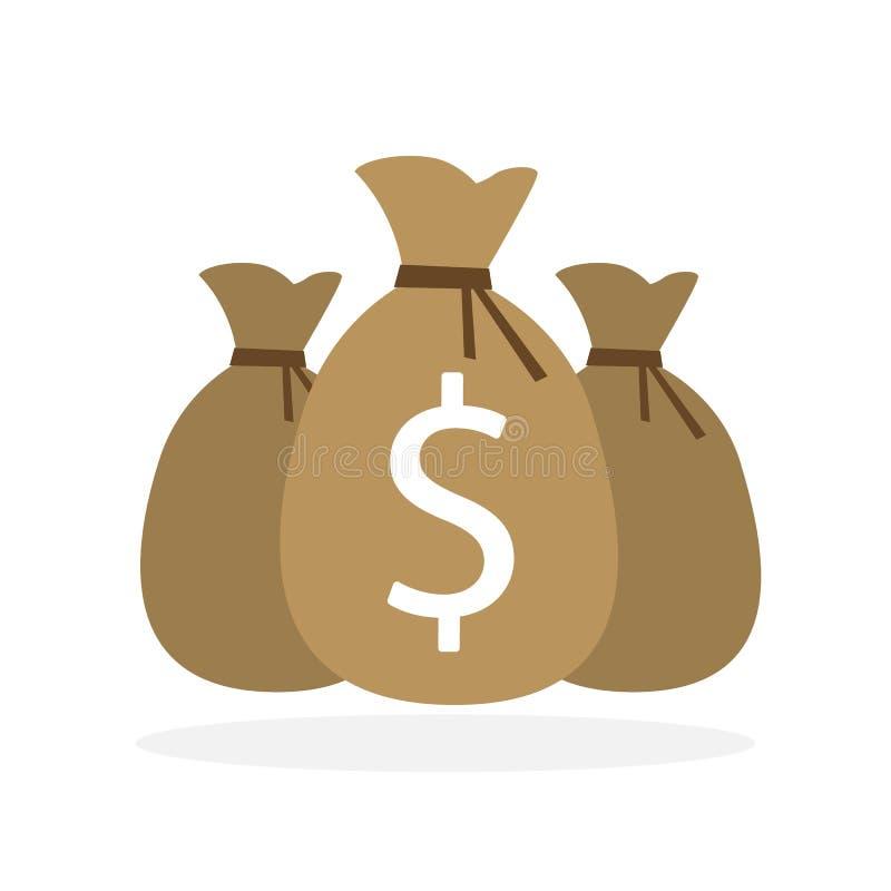 Trzy pieniądze torby na bielu ilustracji