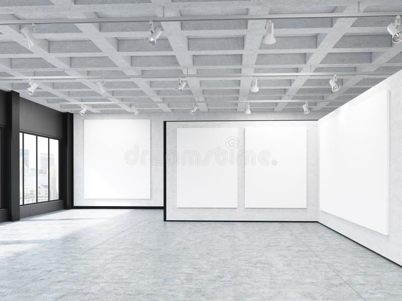 Trzy pionowo i jeden horyzontalni plakaty w galerii ilustracji