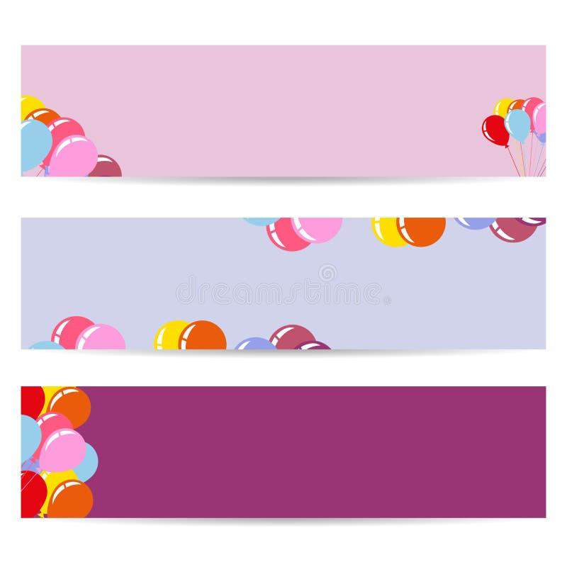 Trzy plakata z Lotniczymi balonami, Puste ulotki ilustracja wektor