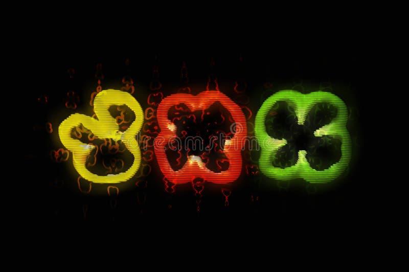 Trzy plasterka zielony czerwieni i koloru żółtego pieprz z usterka skutkiem ilustracji