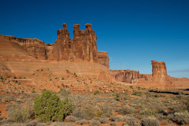 Trzy plotki przy łuku park narodowy zdjęcia royalty free