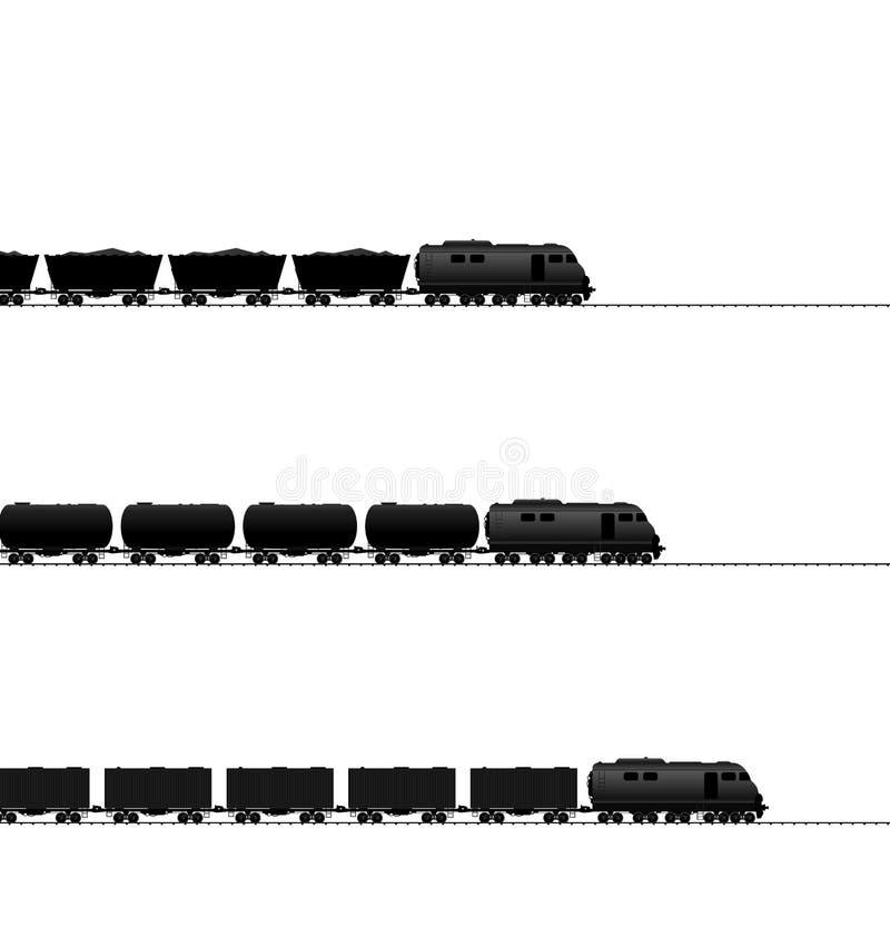 Trzy pociąg z zasilaną lokomotywą, spłuczka olej ilustracji