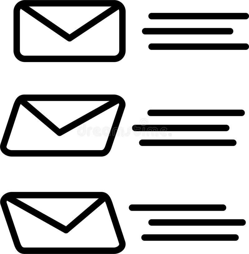 trzy poczty dostawy kopertowy latanie odbiorca ilustracja wektor