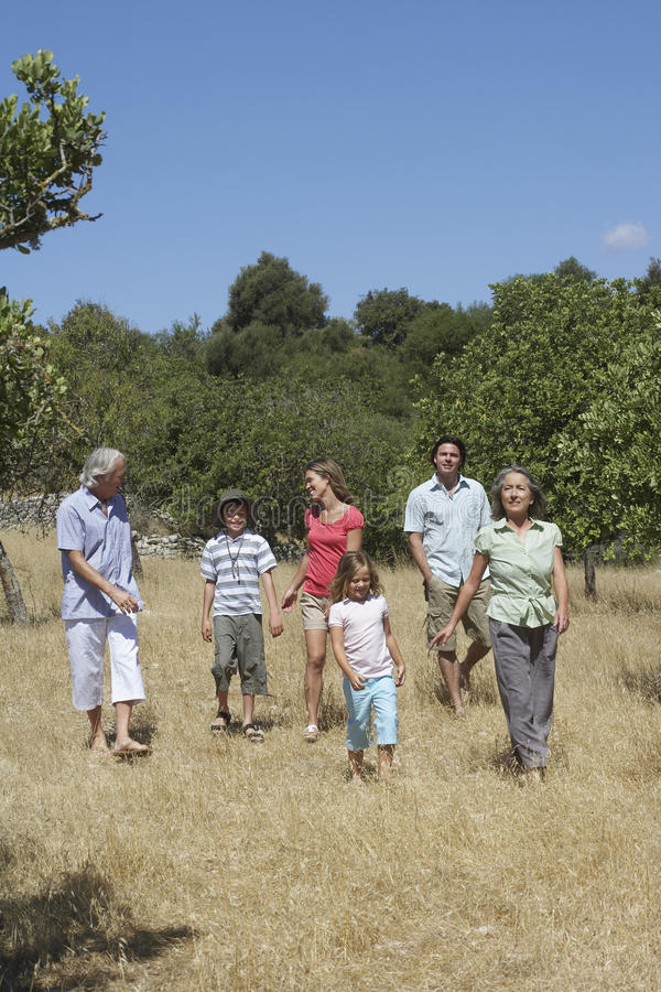 Trzy pokoleń Rodzinny odprowadzenie W polu obraz stock