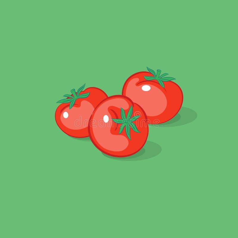 Trzy pomidoru Ilustracyjnego Dojrzali pomidory na zielonym tle ilustracja wektor