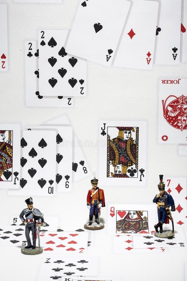 Trzy postaci hussar w tle karta do gry obrazy royalty free