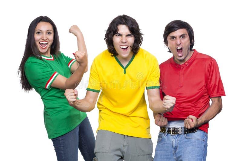 Trzy potomstw piłki nożnej fan obraz royalty free