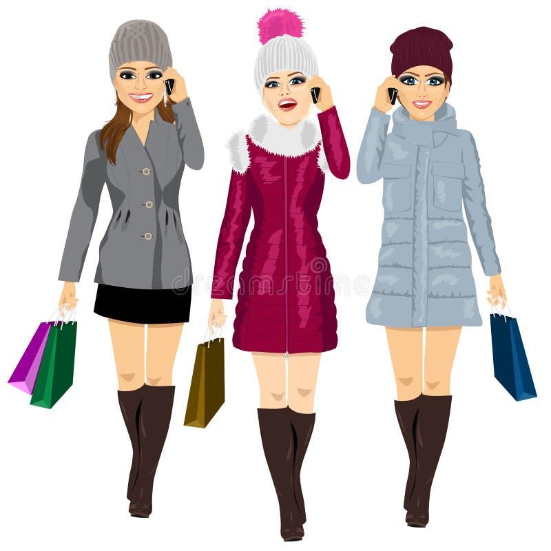 Trzy potomstwo mody kobiety z torba na zakupy ilustracja wektor