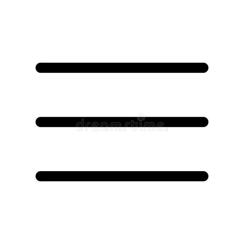 Trzy prętowej linii ikona Symbol menu Konturu nowożytnego projekta element Prosty czarny płaski wektoru znak z zaokrąglonymi kąta royalty ilustracja