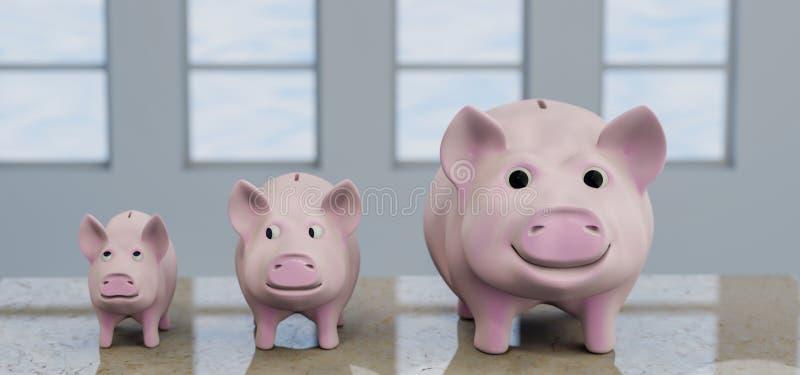 Trzy prosiątka Śmieszny bank - 3d ilustracja obrazy royalty free