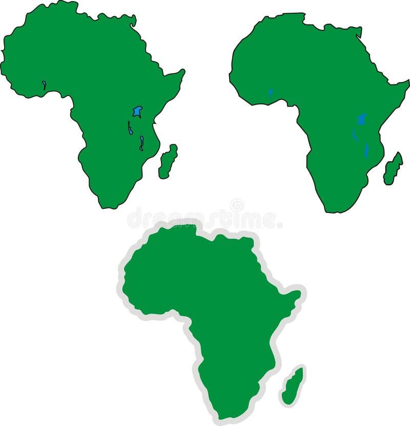 Trzy prostej Afryka konturu mapy ilustracja wektor