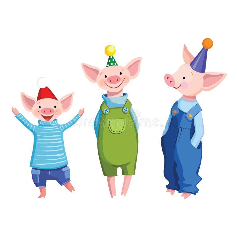 Trzy przyjaciół śliczna kreskówka ubierał świnie w świątecznych nakrętkach ilustracji