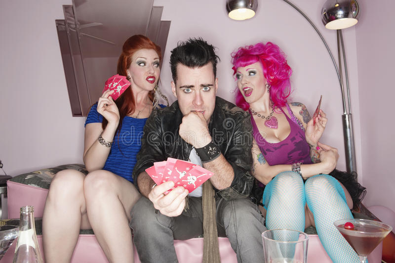 Trzy przyjaciół karta do gry gra obrazy royalty free