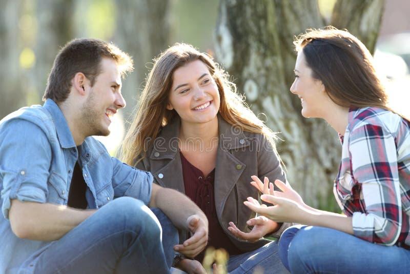 Trzy przyjaciela opowiada siedzieć w parku zdjęcia stock