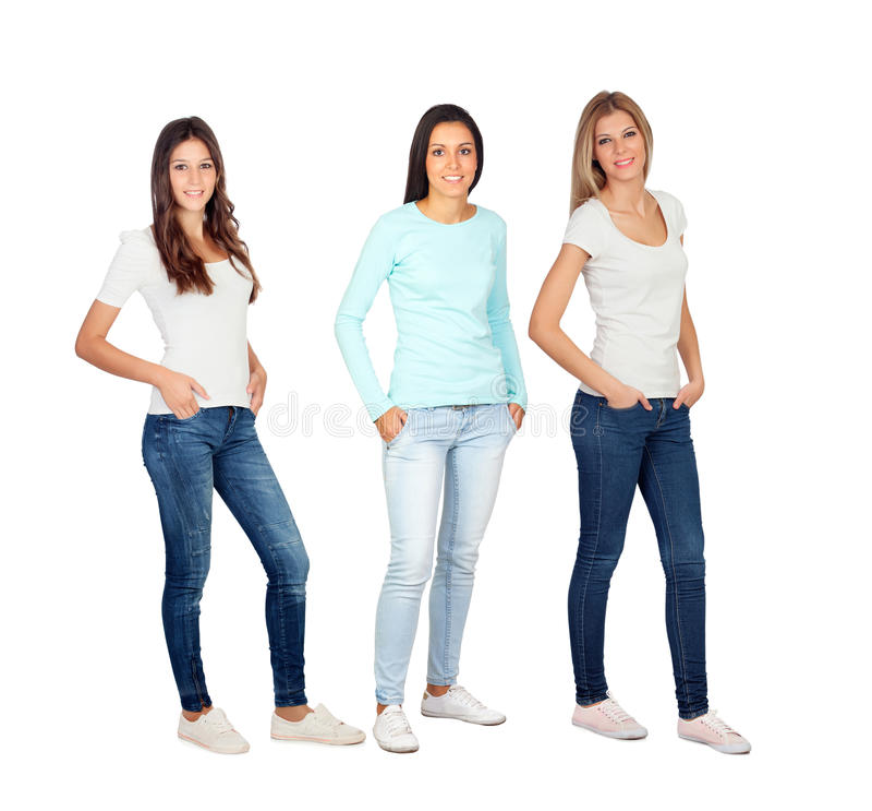 Trzy przypadkowej młodej kobiety zdjęcia stock