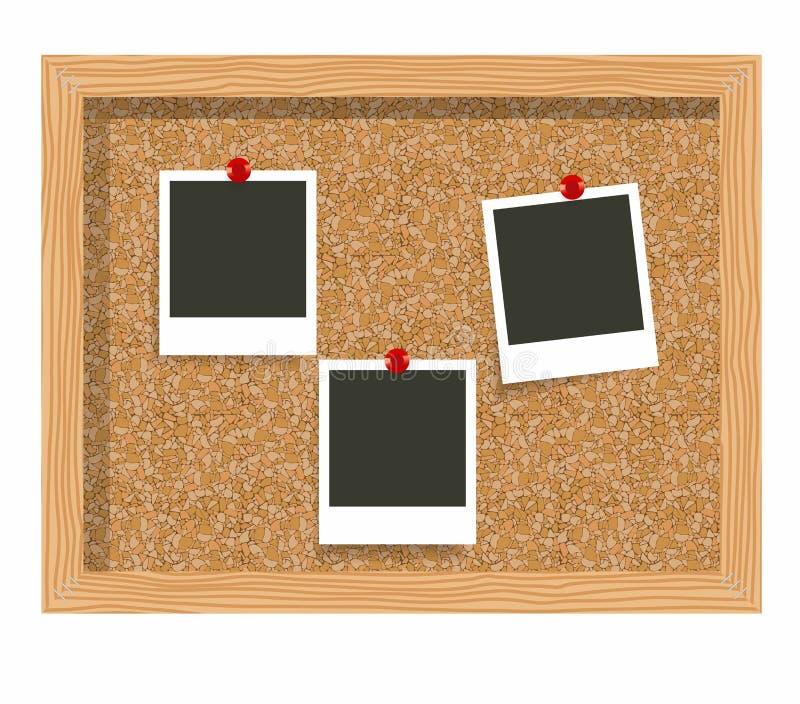 Trzy puste miejsce fotografii ramowego druku, korkowa zawiadomienie deska Pusta natychmiastowa fotografia przyczepiająca korkowa  royalty ilustracja