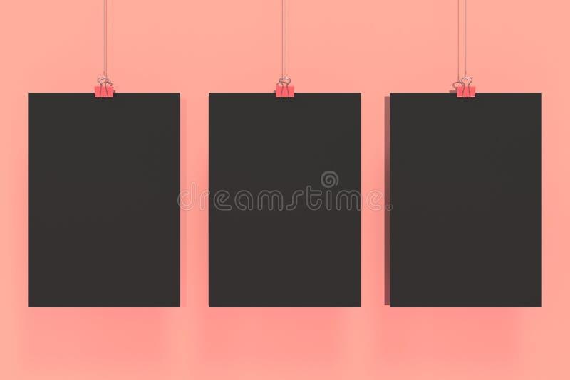 Trzy pustego czarnego plakata z segregatorem przycinają mockup na czerwonym tle royalty ilustracja