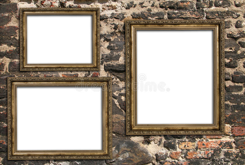 Trzy pustej drewnianej ramy zdjęcia stock