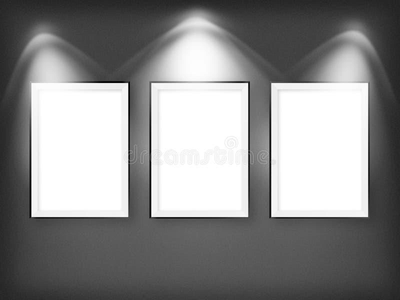 Trzy pustej ramy na ścianie ilustracji