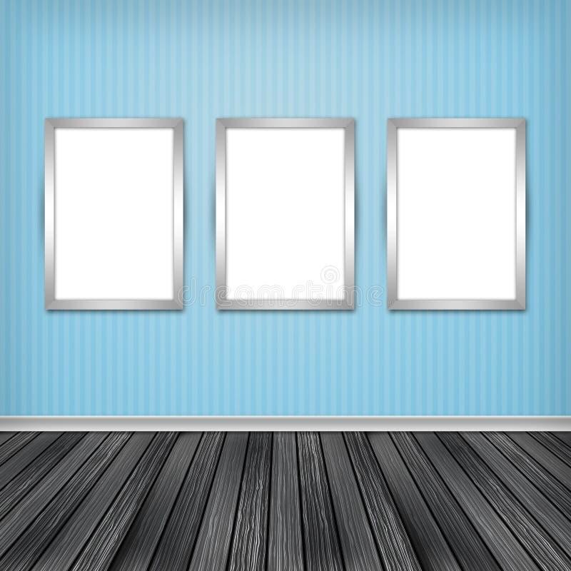 Trzy pustej ramy na ścianie royalty ilustracja