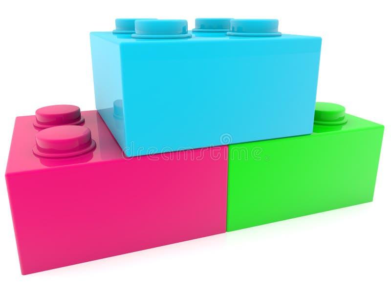 Trzy różne kolorowe cegły zabawek w zbliżeniu ilustracji