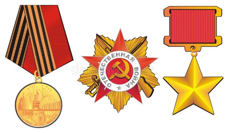 Trzy różnego medalu ilustracji