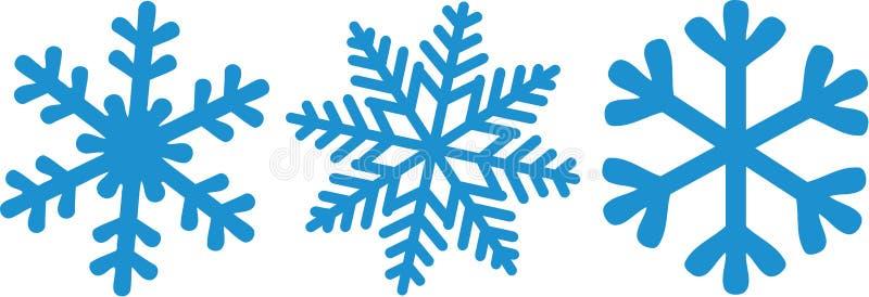 Trzy różnego rodzaju płatki śniegu ilustracja wektor