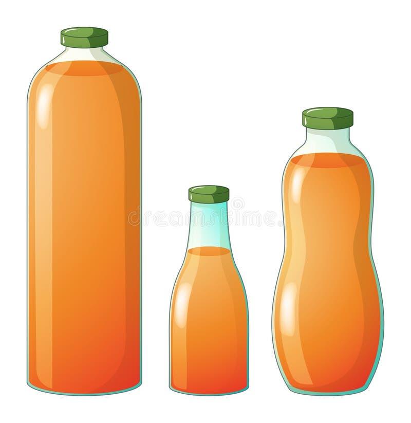 Trzy różnego rozmiaru butelki z sokiem pomarańczowym royalty ilustracja