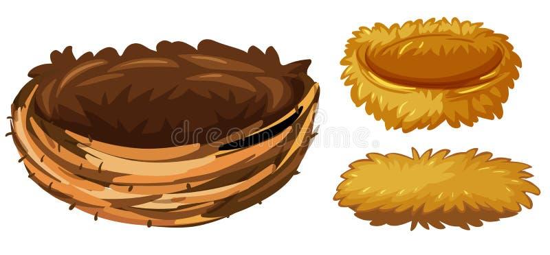 Trzy różnego typ ptasi gniazdeczka ilustracja wektor