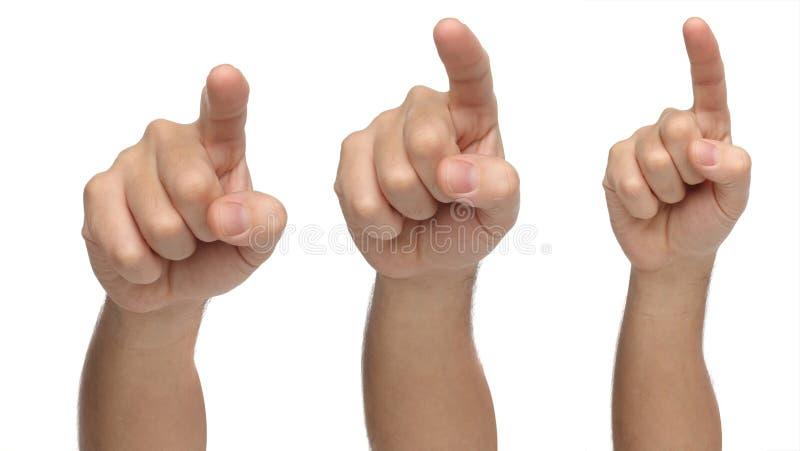 Trzy ręki wskazuje coś lub dotyka obraz royalty free