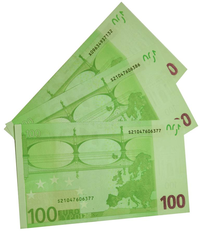 Trzy rachunku sto euro odizolowywających zdjęcia royalty free