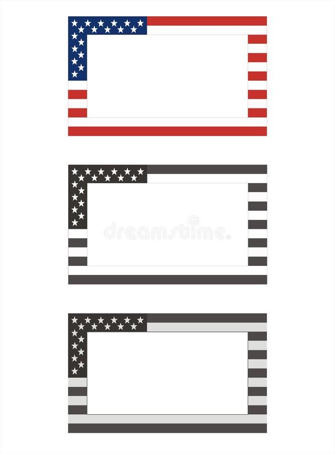Trzy ramy w kolorach flaga amerykańska również zwrócić corel ilustracji wektora ilustracji