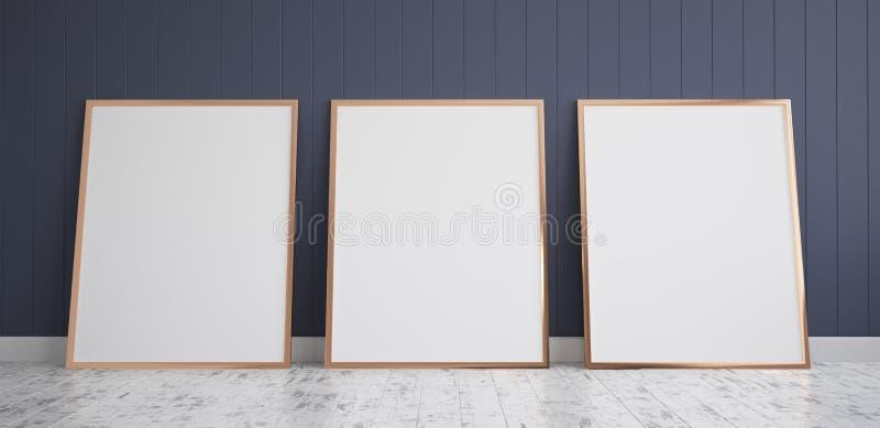 Trzy ramy z Plakatową Mockup pozycją na drewnianej podłoga royalty ilustracja