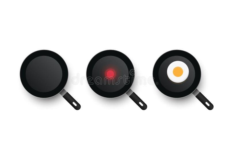 Trzy realistycznej wektorowej niecki Proces kucharstwa smażący jajka Zimna i gorąca smaży niecka royalty ilustracja